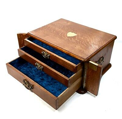 Antique Solid Oak Wooden Jewellery / Collectors Box / Cabinet / Drawers c.1900