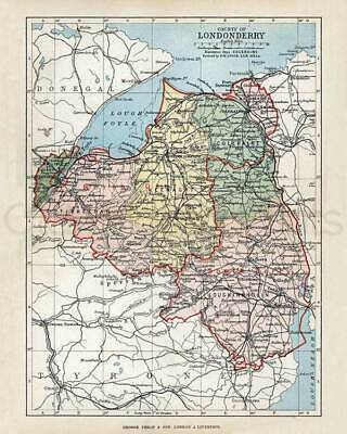 County Londonderry. 1889 Antique Irish PRINT size A3. FREE DELIVERY UK & IRELAND
