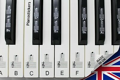 Stickers for 88 key Piano or Keyboard clear laminated black & white keys