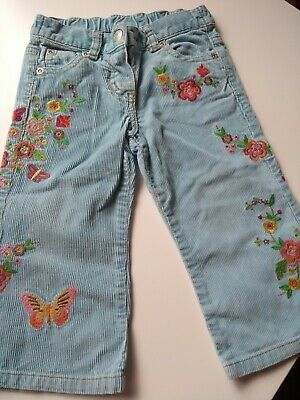 Mini Boden Girls Embroidered Corduroy Jeans Trousers Size 18 24 months 2 years