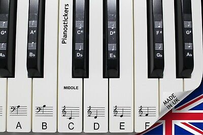 Stickers for 61 key Piano or Keyboard clear laminated black & white key