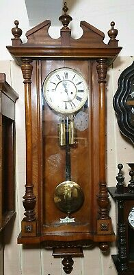 Large Vintage Twin Weight Driven Vienna Wall Clock with Strike