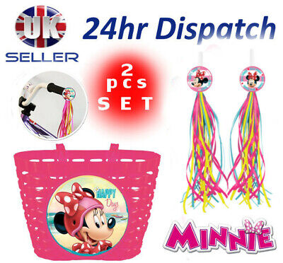 Disney MINNIE MOUSE Girl Bike Cycle Shopping Front BASKET + Streamers Tassels