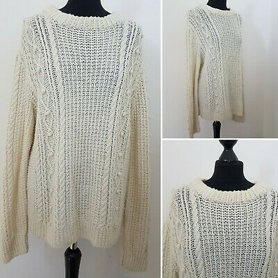 Mens VINTAGE Knitted Jumper Sz M Chunky Fisherman Wool Blend? Cream Bobble Cable