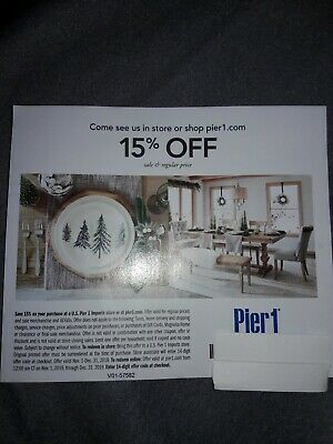 (1) Pier 1 One 15% Off Entire Purchase In Store or Online - Exp 12/31/19