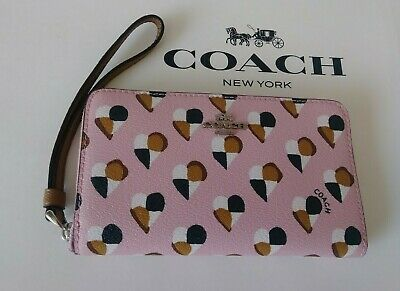 NWT Coach Phone Wallet in Blush/Multi Checkered Heart Coated Canvas F25963