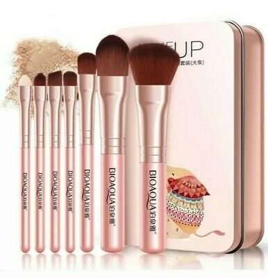 Professional Travel Make up Brushes Set Cosmetic Tool Kabuki Makeup Kit +Tin Box