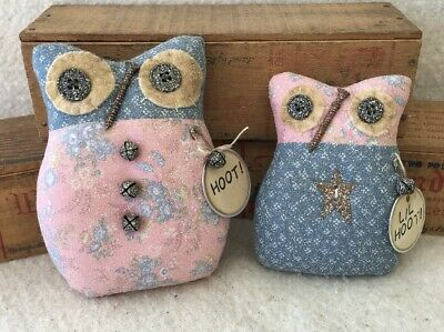 Primitive Ornies Rustic Farmhouse OWL Prim Ornies Bowl Fillers Make Do's