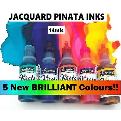 5 NEW Brilliant Colours Jacquard Pinata Alcohol Inks for Glass Wood Paper Yupo +