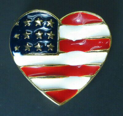 American Flag Heart Brooch Lapel Pin Jewelry Pinback Gold Red Blue White USA BIG