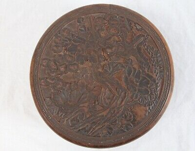 Antique Meiji Japanese Carved Wood Lidded Box Sparrows Birds Floral Landscape