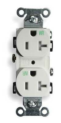 HUBBELL WIRING DEVICE-KELLEMS BR20WHIWRTR 20A Duplex Receptacle 125VAC 5-20R WH