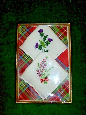 c.1960 Boxed  Cotton Handkerchiefs from SCOTLAND Embroidered Thistles & Heather