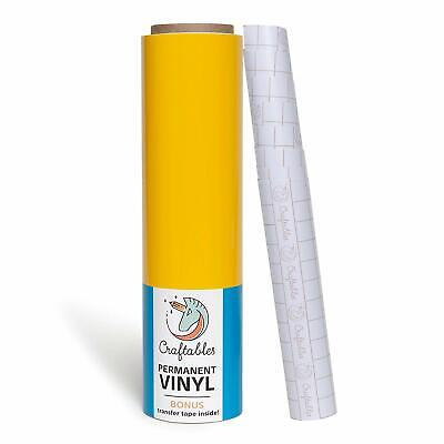 "Yellow Vinyl Roll - Permanent, Adhesive, Glossy & Waterproof | 12"" x 25'"