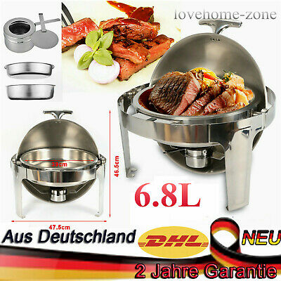 Professional Buffet Round Roll Top Chafing Dish - 6.8LTR Food Warmers Stainless