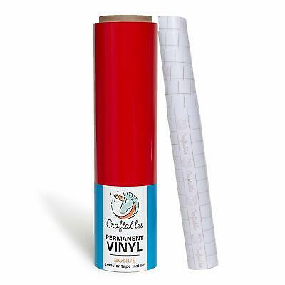 "Red Vinyl Roll - Permanent, Adhesive, Glossy & Waterproof | 12"" x 25'"