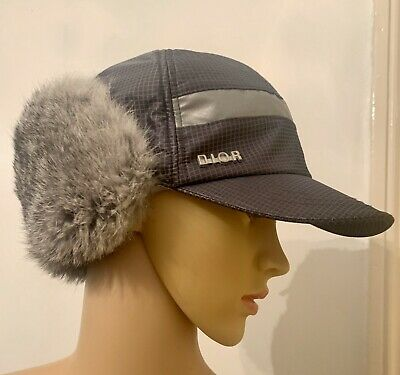 Christian Dior Grey Rabbit Fur Unisex Trapper Hat Size T4 Age 4-5 Fits Adult