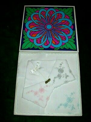 3 X c.1970 Boxed White  Embroidered  Cotton Handkerchiefs  by Marks & Spencer