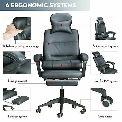 Executive Office Chair – PU Leather Gaming Recliner Adjustable Swivel Computer