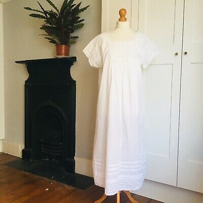 Vtg 90s White Indian Cotton Lace Square Neckline Long Nightdress Gown 16 18