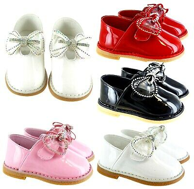 Kids Infants Baby Toodler Patent Spanish Bow Flat Diamante Party Wedding Shoes