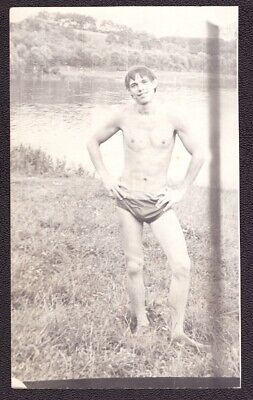 Old Soviet Vintage Photo Beach Shirtless Young Man Athlete Guy Naked Torso #7