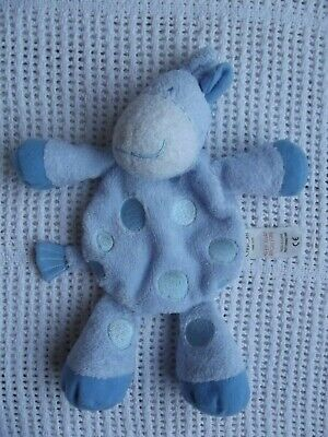"10"" Tesco Cherokee Soft Toy Donkey Baby Comforter - Blue Spots"