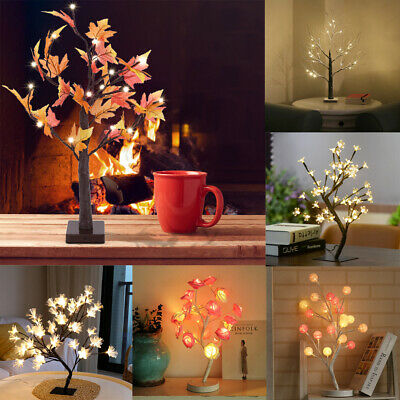 LED Cherry Blossom Tree Night Light Table Lamp Christmas Party Xmas Home Decor A