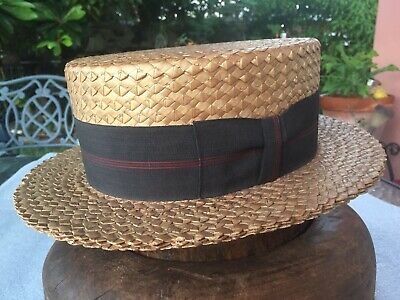 Excellent Vintage Wormser 1910-20 Boater Panama Straw Hat 7-1/8
