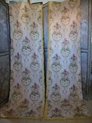 Pair French Tapestry Textile Fringed  Curtains