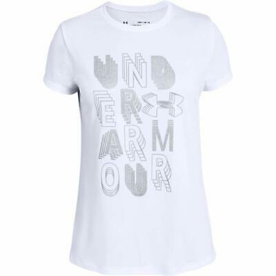Under Armour Girl's Youth Linear Wordmark Short Sleeve Crew Neck T-Shirt Small