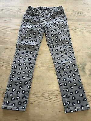 Mini Boden Grey Animal Leopard Print Straight Skinny Jeans Size Age 8 Years