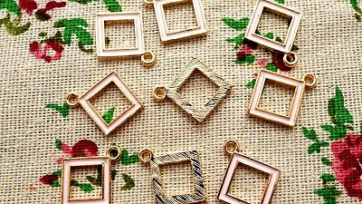 Square geometric gold & pale pink 5 charms jewellery supplies C695