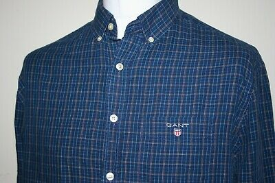 Gant Navy Blue Check Long Sleeve Button Down Oxford Shirt Size Large Rare Top