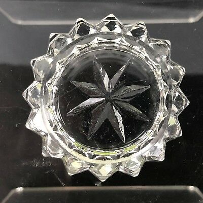 Salt Cellar  VTG Cut Crystal Glass Antique Open Dip Open Dish Zipper Zip Sides