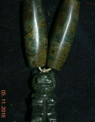 Sale!! Pre Columbian Mayan Jade Necklace, Jaquar, Large 14In Prov