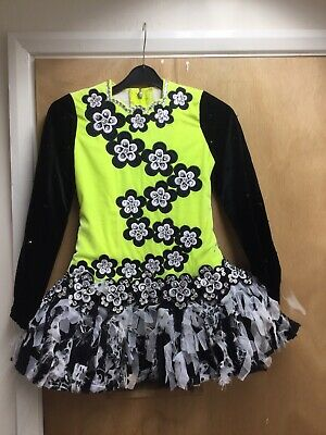Siopa Rince Teo Irish Dancing Dress Non Yellow Black White & Sparkle