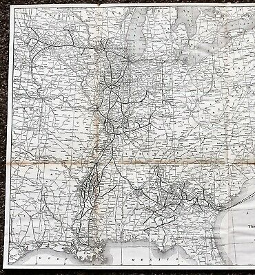 1923 Yazoo Mississippi Valley Railroad Map Illinois Central Ocean Steamship RARE