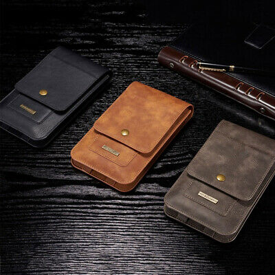 """6.5"""" Universal Phone Leather Belt Clip Wallet Pouch Bag Card Holder Case Cover"""