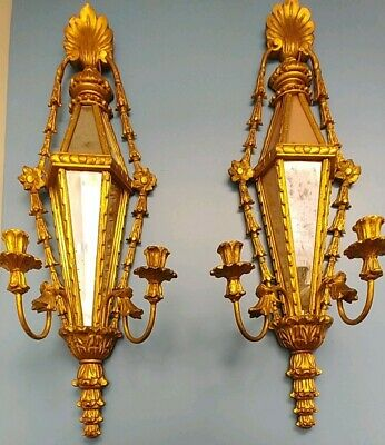 Circa 1950 Pair Of Italian Wood Mirrored Candelabras 34 Inches High