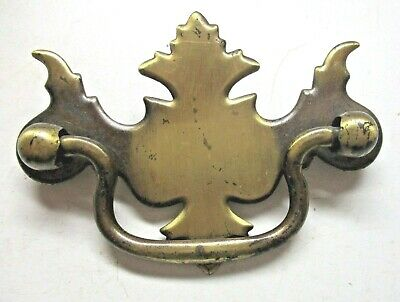 """1 Vintage 3-1/8"""" Drop Bail Pull Handle Aged Japanned Brass: Drawer Holes=2-1/2"""""""