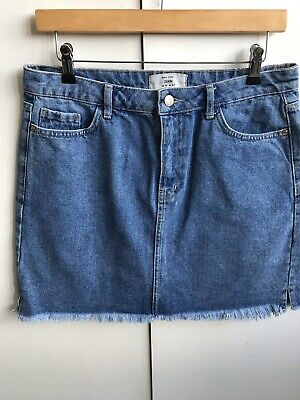 new look blue denim skirt 14 with pockets great condition 100% cotton