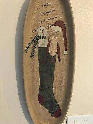 """Donna White Cheistmas Wall Decoration Or Platter, Snowman 20 1/2"""" Long 7"""" Wide"""