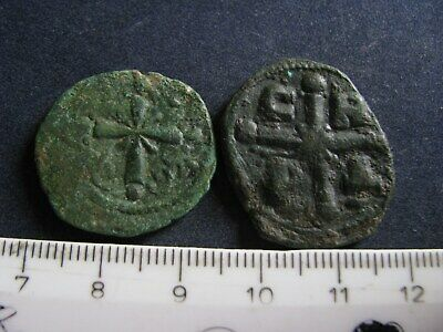 2 Genuine Ancient Byzantine Bronze Coins,Crucifix/Cross Rev,Some Great Detail