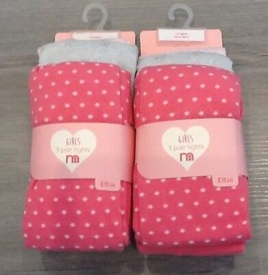 Mothercare 2 Packs Of 3 Girls Tights New With Tags Age  4-5 Years