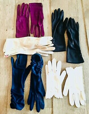Bn Vtg Gloves 5 Pairs Leather Sea Island Cotton Small  6.5-7.5 Marron Blue White