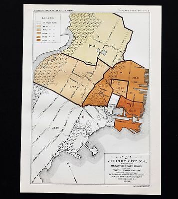 1890 Jersey City New Jersey Map Death Rate 11th Census Statistics ORIGINAL RARE