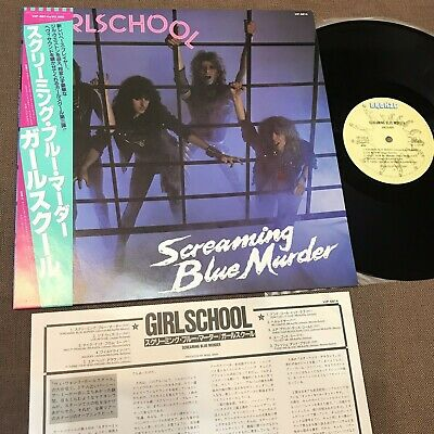 Girlschool Screaming Blue Murder Giappone LP W/Obi + Inserto VIP-6814 Motörhead