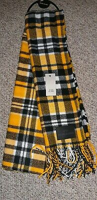 River Island Men's Yellow/Black Checked Scarf