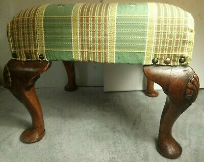 Antique Wooden Upholstered Footstool, Georgian Style, Shell Carving.